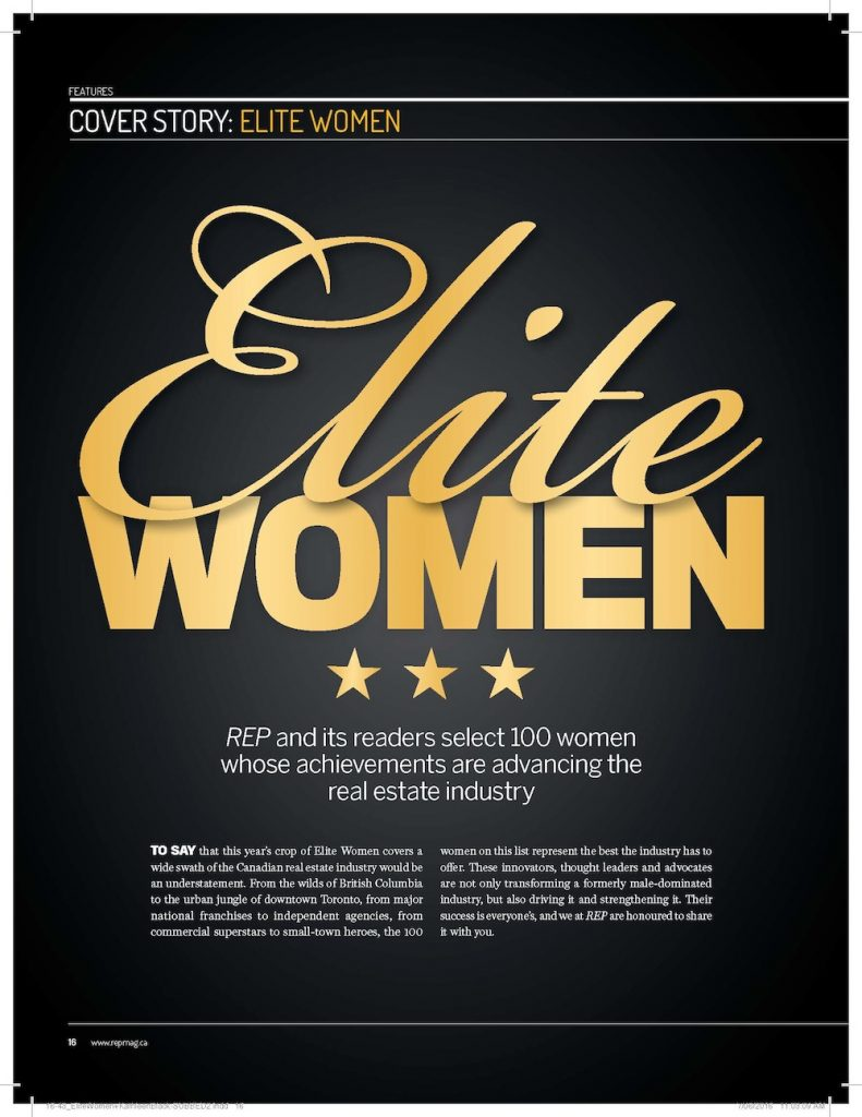 REP and its readers select 100 women whose achievements are advancing in the real estate industry
