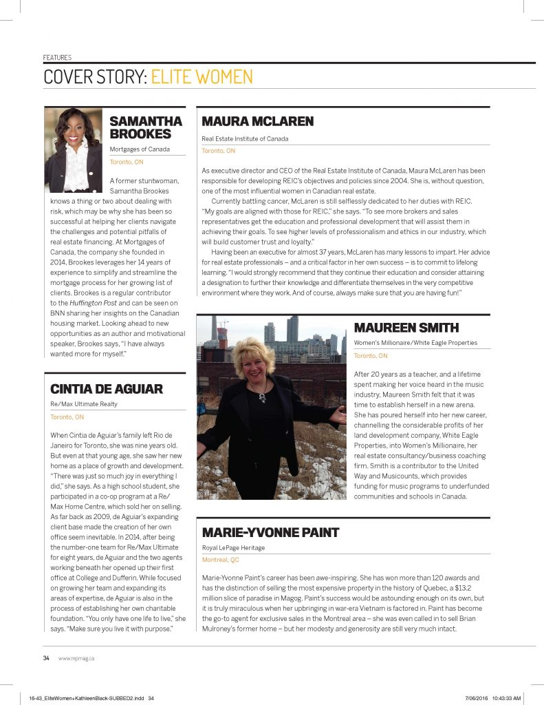 Maureen E. Smith was named one of Canada's Elite Women in Real Estate 2016.